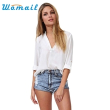 Hot Marketing 3 Colors 1PC Fashion Women Leisure Loose Chiffon Long Sleeve Blouse Shirt Tops WJul7 Drop Shipping