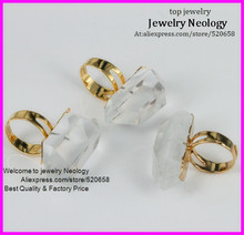 free ship! 5pcs of Gold 24 kt. Plated Wholesale natural Clear quartz crystal Point gem stone jewelry ring NEW DESIGN!(China)