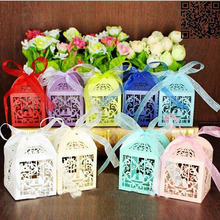 10Pcs/set Bird Shaped Party Wedding Hollow Carriage Baby Shower Favors Gifts Candy Boxes With Ribbon Party Supplies
