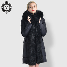 COUTUDI Long Winter Women's Jacket Warm Clothing Elegant Original Fur Lined Parka Women Luxury Female Casual Cotton Padded Coats(China)