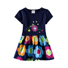 Novatx H7110 2017 kids wear new design style floral embroideried flower plaid hemline short sleeves baby girls dress hot selling