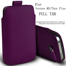 PIERVES PU Leather Case For Vernee M5 Thor Plus Mars Pro Pull Tab Sleeve Pouch Bag Case Cover