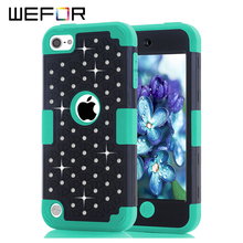 Rehinstore Diamond Bling Case For iPod Touch 5 Hybrid Hard Rubber Full Body Protective Phone Cases Shell w/Screen Protector Film(China)