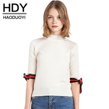 HDY Haoduoyi 2017 Solid White Fashion Sweaters Women Half Sleeve Turtleneck Female Pullovers Tops Cute Bow Loose Autumn Sweater(China)