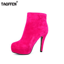 TAOFFEN Women Ankle Boots High Heel Platfoms Winter Botas Sexy Warm Fur Ladies Boot Heels Footwear Shoes P15367  EUR Size 31-45