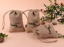 "Black Printed ""Live Love Laugh"" Burlap Hessian Drawstring Bags Candy Gift Bag Rustic Wedding Decor Jute Hessian Favor Pouch Bags"