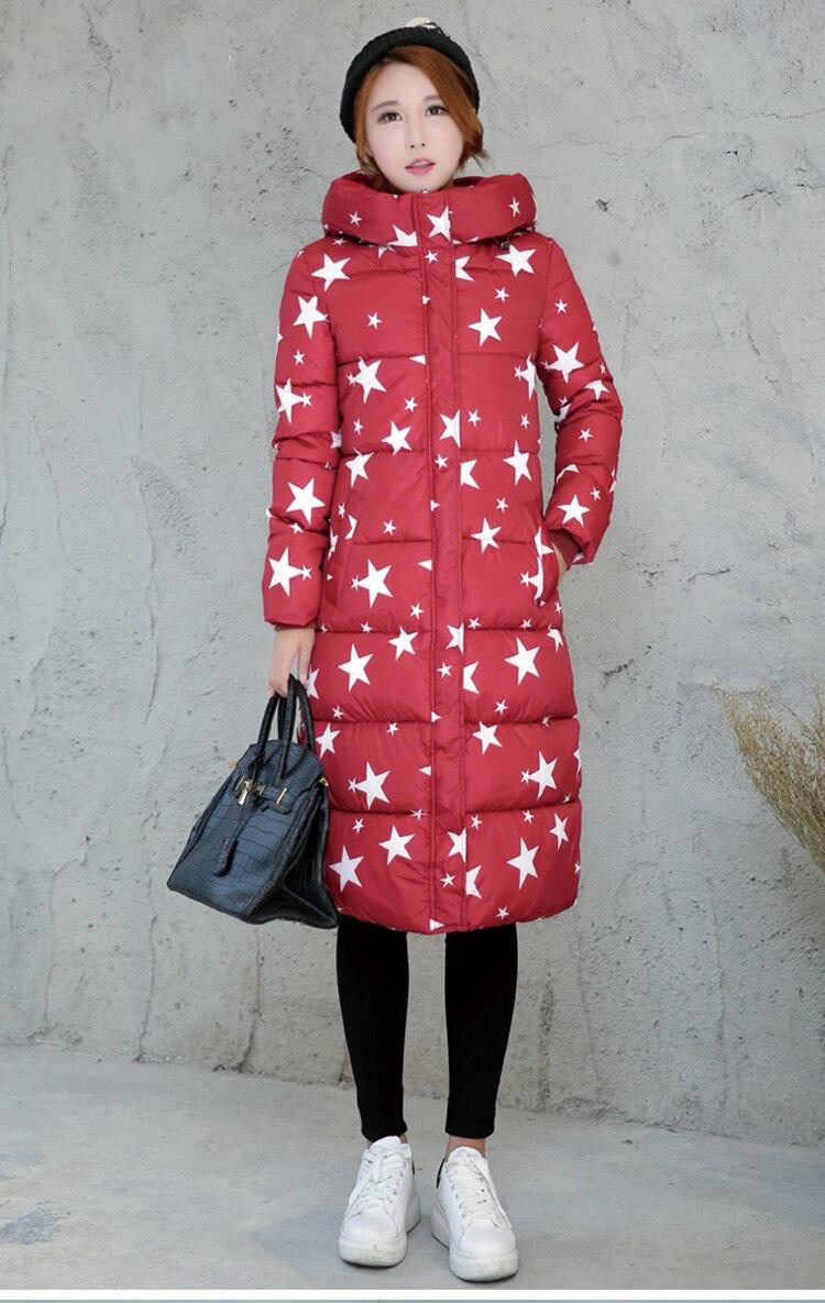 Fashion long women Parkas girl emoji stars down jackets winter slim blazers lovely Kpop jackets thick kawasak female windbreaker