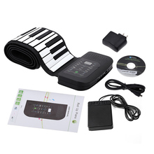 Portable 88 Keys Piano Silicone Flexible Roll Up Piano Foldable Keyboard Hand-rolling Piano with Sustain Pedal US Plug(China)