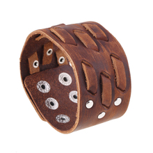 MYTHIC AGE Punk Genuine Leather Hand Made Braided Wide Bracelet Bangle Cuff Jewelry Bijouterie For Men Women
