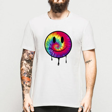 Summer Smiley Face Mens T Shirt Harajuku Colorful Acid Dripping Tie Dye Style T-shirts Rave House Music Dubstep Cotton Shirts(China)