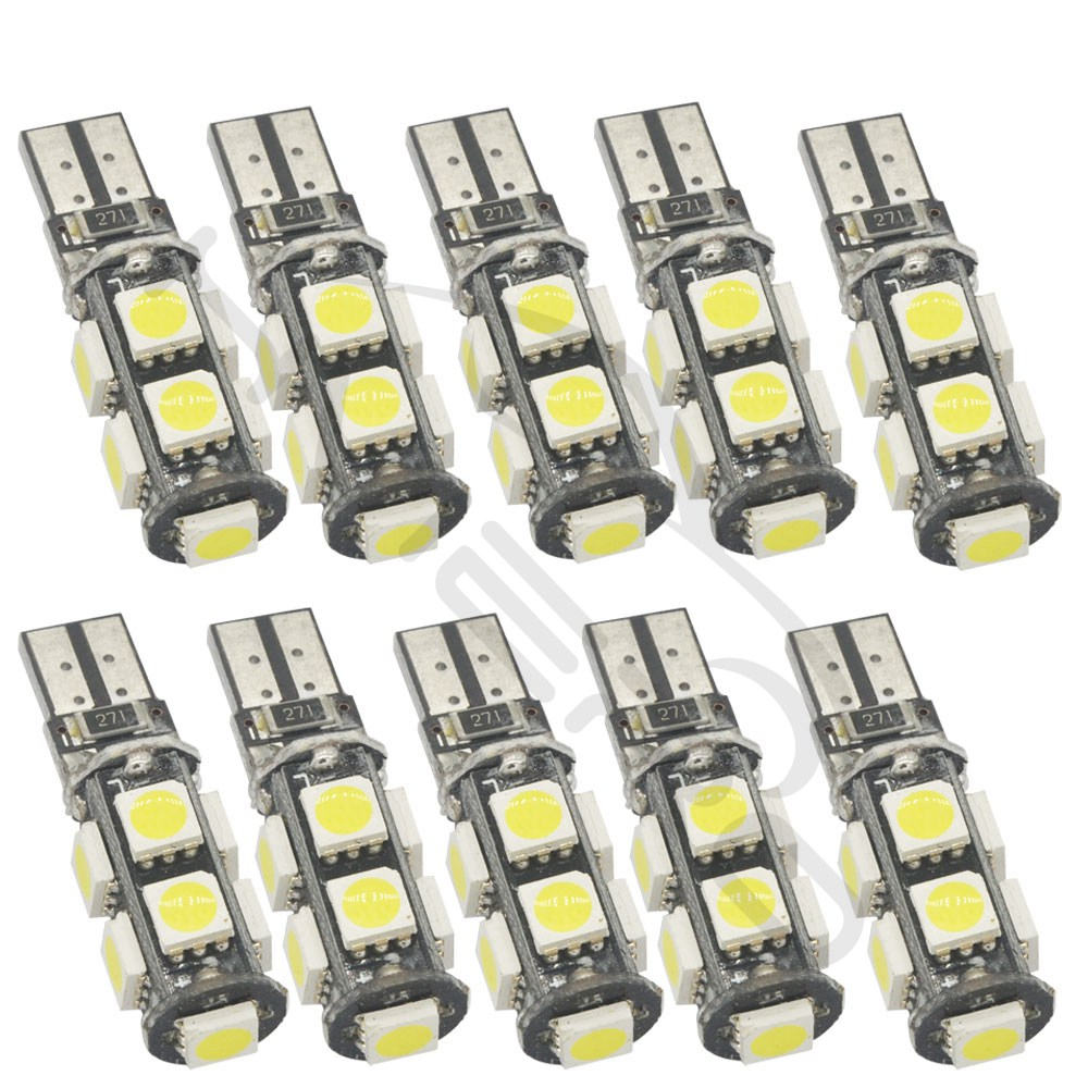 Hviero White T10 9smd 5050 Canbus DC 12V Error Free 194 168 192 W5W Car LED Tail Light Interior Bulbs Wedge Parking Led Dashboard Lamp