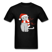 Almost christmas by dora Casual Short Sleeve men t shirt on Sale 100 % Cotton t shirt for Boy Christmas Cat(China)