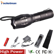LED XM-L2 5000LM Zoomable Zoomable Flashlight Light Torch Lanterna CREE XM-L2 Flashlight Rechargeable 18650+Charger+Cover