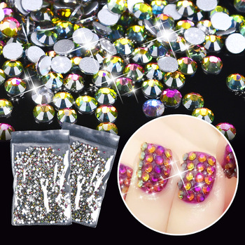 ZKO 1 Pack Rainbow AB Nail Art Rhinestones 2mm Flat Bottom 3D Nail Decor Manicure Crystal Decorations For Nails Art