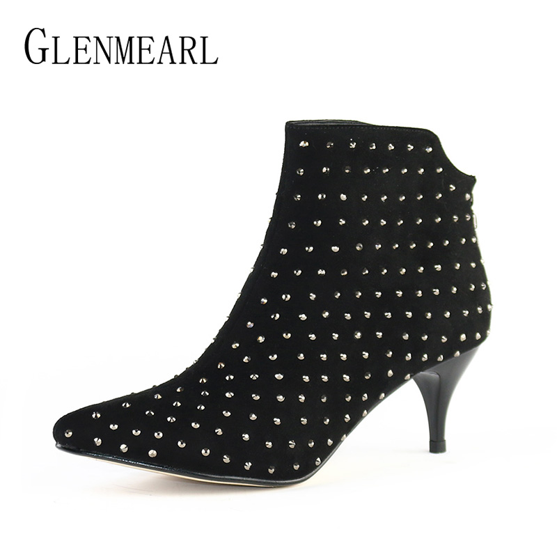Black Women Ankle Boots High Heels Shoes Woman Brand Elegant Rhinestone Thin Heels Winter Boots Short  Plus Size Party Shoes DO<br>