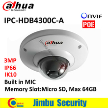 "DAHUA Original 3MP IR 30m Network Dome Camera IPC-HDB4300C-A  1/3""  IP66 IK67 POE Built-in MIC cctv camera Micro SD Max 64GB"