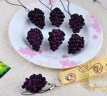 40pcs- 4cm PVC Purple grapes Fruits phone charm fashion party gift FREE SHIPPING wholesale
