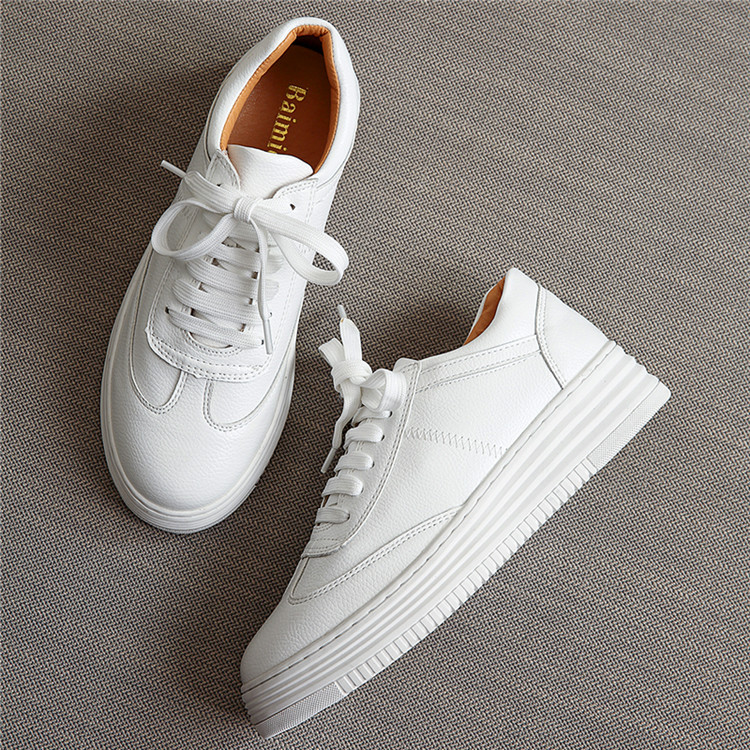 17 Women White Shoes Autumn Winter Soft Comfortable Casual Shoes Flats Platform Sneakers Real Leather Shoes Sapato Feminino 6