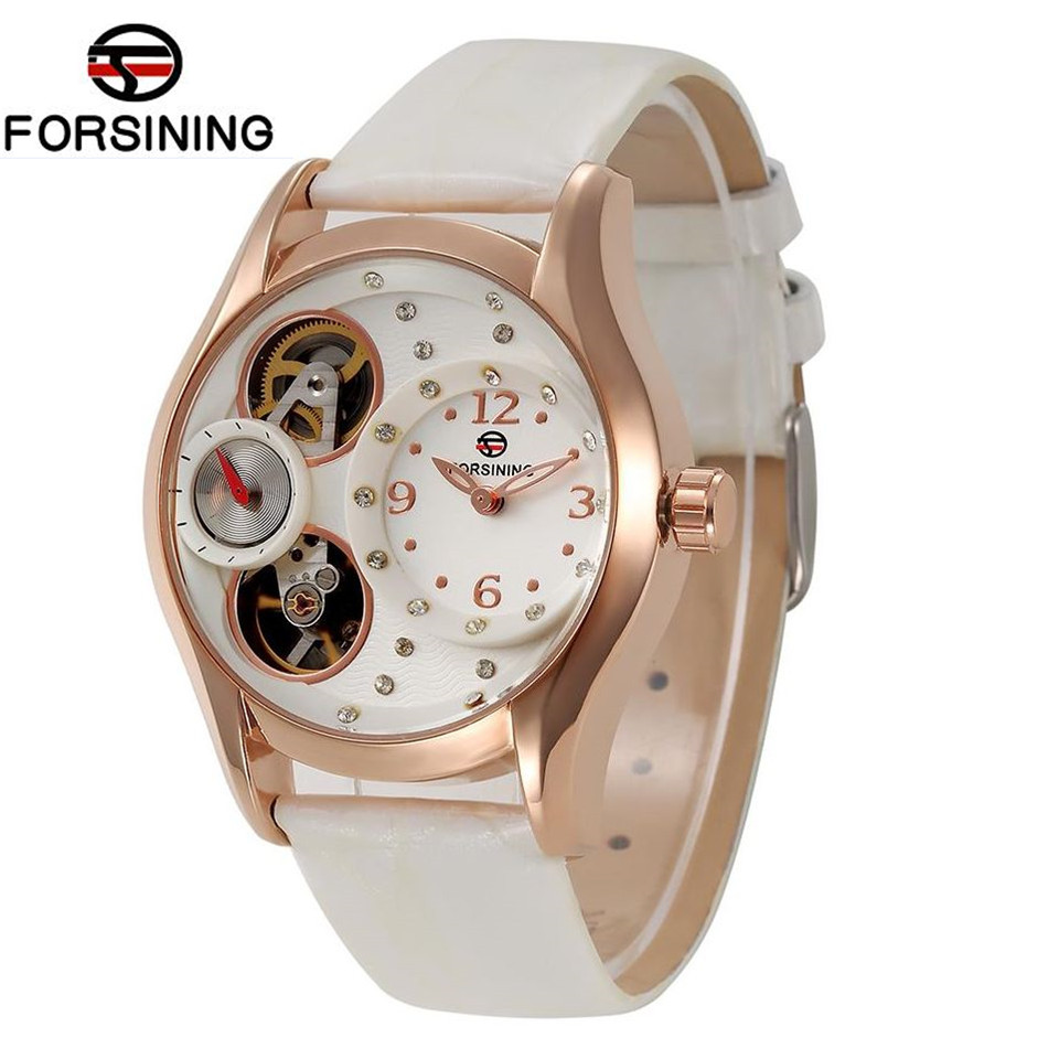 Original FORSINING Luxury Brand Womens Quartz Watches White PU Leather Wristwatch Free Ship<br>