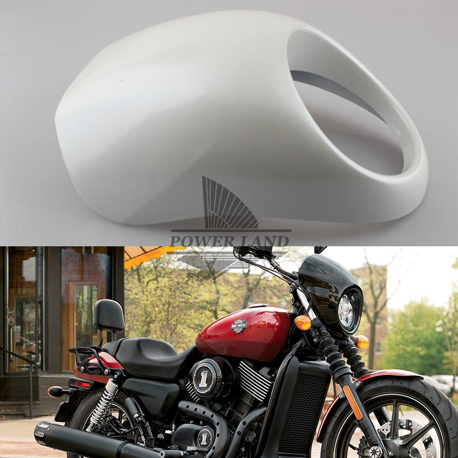 White Headlight Fairing Mask With Hardware Front Fly Screen Racer Cowl Flyscreen Visor for Harley Sportster Dyna FX/XL<br>