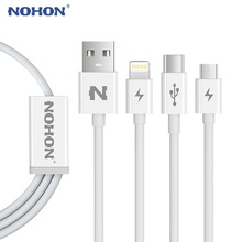 Original NOHON 3 in 1 Type C Micro USB Cable For Apple iPhone 7 6 6S Plus iPad iPod Android Samsung LG Quick Charge Data Sync(China)