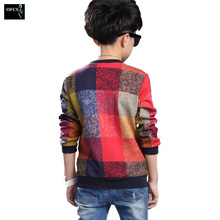 New Design Boy Casual Style Sweater Square Pattern Kid Pullover Knitted Clothes High Quality Children Warm Sweater Top 5-15 Age(China)