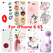 New Fashion Painted Cute Romantic Design Luxury Hard White Case Cover For Apple iPhone 6 6S iPhone6 iPhone6S Shell