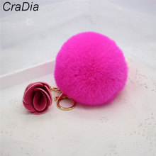 8CM real Fur Ball Keychain rose Rex Rabbit Fur Pom Pom Plush Key Chain Keyring men women keychain