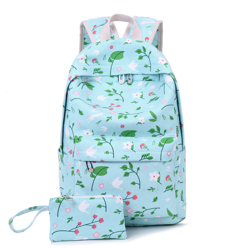 Sen small fresh shoulder bag female canvas backpack flower printing student school bag school bag<br>