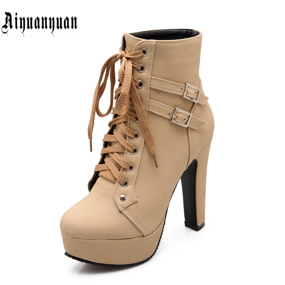 2017 EUR plus size to 40 41 42 43 44 45 46 47 48 LACE-UP design popular style women PU WOMEN boots most countries FREE SHIPPING<br><br>Aliexpress