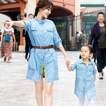 Mother Daughter Dresses Outfits Girls Vestidos Mommy and Daughter Matching Clothes Denim Dress Jacket Clothing Polo Shirt Blouse
