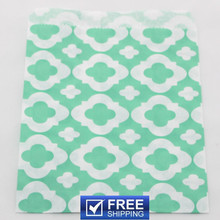 200pcs MOD Patterned Aqua Paper Favor Bags Cheap-DIY Wedding Party Treat Gift Candy Goodie Wrapping Bag-Choose Your Colors(China)