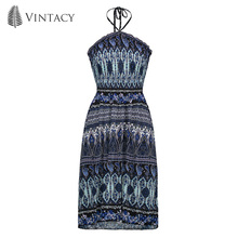 Vintacy Women's Day Dress Halter Geometric Pattern Vacation Blue Floral Color Block 2018 Modern Sexy Fashion Women's Day Dress(China)