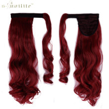 SNOILITE 24inch Synthetic Curly Long Ponytail Clip In Pony Tail Hair Extensions Wrap on Hairpieces Hairstyles Dark Red