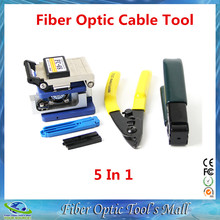 5 In 1 FTTH Fiber Optic Tool set with FC-6S Fiber Cleaver and Double port Miller stripping + pliers Wire stripper Use Ftth Fttx(China)