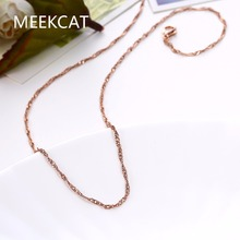MEEKCAT Women's 1.5mm Water Wave Twisted Chain 46+5CM necklaces Colar de Ouro Gold/Rose Gold/Silver Jewelry Findings accessory