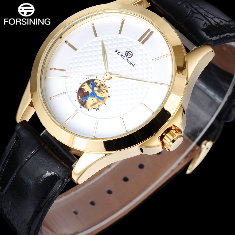 2017 FORSINING popular brand business automatic self wind watch skeleton white dial transparent back case genuine leather band<br><br>Aliexpress