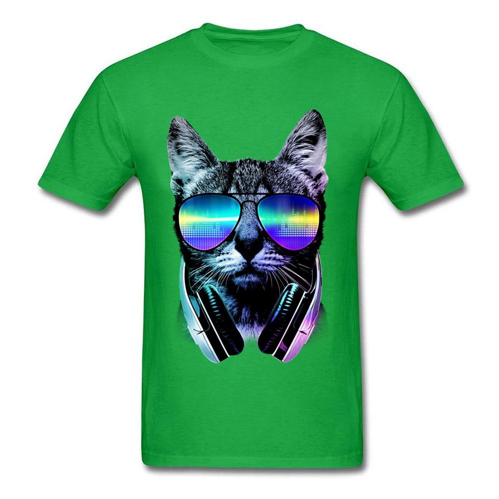 Music Lover Cat Cotton Hip hop Tops Shirt 2018 Hot Sale Short Sleeve Men's T Shirt Normal Summer T Shirts Crewneck Music Lover Cat green