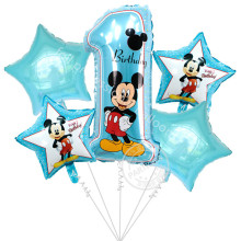 5pcs Happy birthday decoration balloon mickey minnie mouse 18 inch star number Helium Foil Balloons Baby 1th birthday globos(China)