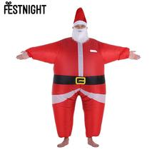 Christmas Inflatable Santa Costume Jumpsuit Air Fan Operated Blow Up Christmas Party Fancy Dress Inflatable Outfit Suit New Year(China)