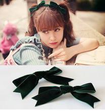 Free Shippin 2pcs Women's velvet bow hairpins girl's cute lovely fashion hair clips hair Korea accessories 2016