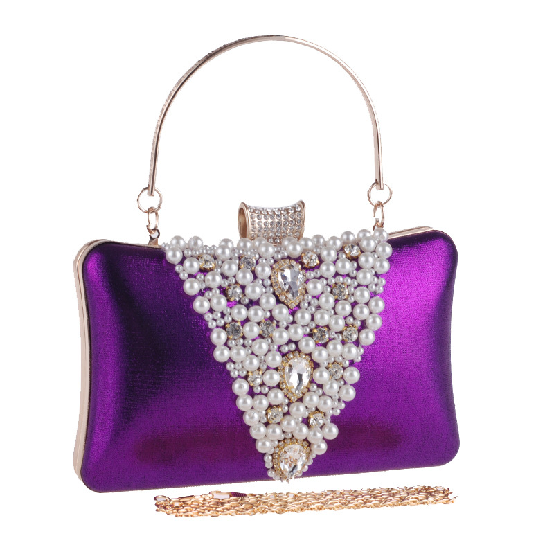 Elegant Minaudiere Bags for Women 2018 Fashion Beaded Evening Bags Beads Evening Clutch Wedding Party Bag Purple Black Gold D006<br>
