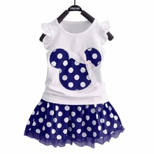 Puseky Vestido Princesa 2 PCS Set Cute Kids Baby Girls Clothes Minions Minnie Mouse Party Dress Vest Skirt Toddler Clothes 1-6Y(China)