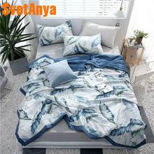 Svetanya 2019 Plants print Cotton Quilt thin quilted Blanket bedding Throws(China)