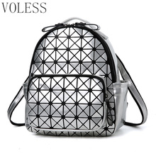 Women Backpack Geometric Plaid Sequin Female Scool Backpacks For Teenage Girls PU Leather Bagpack Holographic Women Backpack(China)