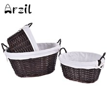 3Pcs/set Storage Basket Willow Wicker with Linen Picnic Shopping Hamper with Handle Round Oval Rattan Steamed Cassette