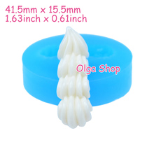 XYL070 41.5mm Long Whipped Cream Flexible Silicone Mold - Dessert, Fondant, Cake Decorating Tools, Candy, Chocolate, Resin Clay