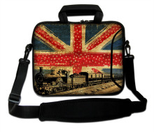 "10""13""14""15""17"" UK Flag And Train Model  Neoprene Laptop Sleeve Shoulder Case Computer Handle Carring Sling Forder For IBM Intel"