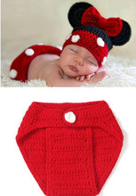 2pcs Red Clothing Christmas Clothes+hat Mouse Girls Bowknot Child Handmade Knitted Newborn New Born Infant Baby Set(China)