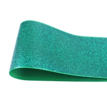 T.R RIBBON 3'' 75mm full glitter grosgrain polyester sparkle sprayed ribbon Gift Wrap ribbon 580 emerald 10yards(China)